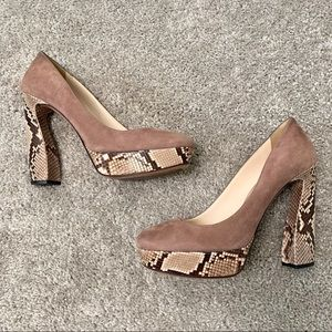 Prada Snakeskin Trimmed Platform Heel